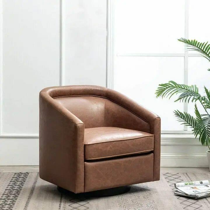 Leather Swivel Barrel Chair